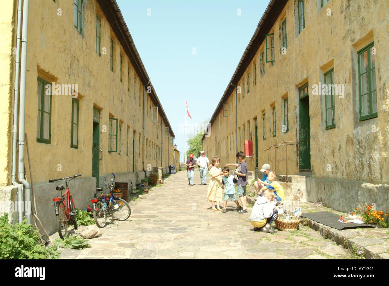 "Barracks in the ""main street"" of Christiansø Stock Photo"