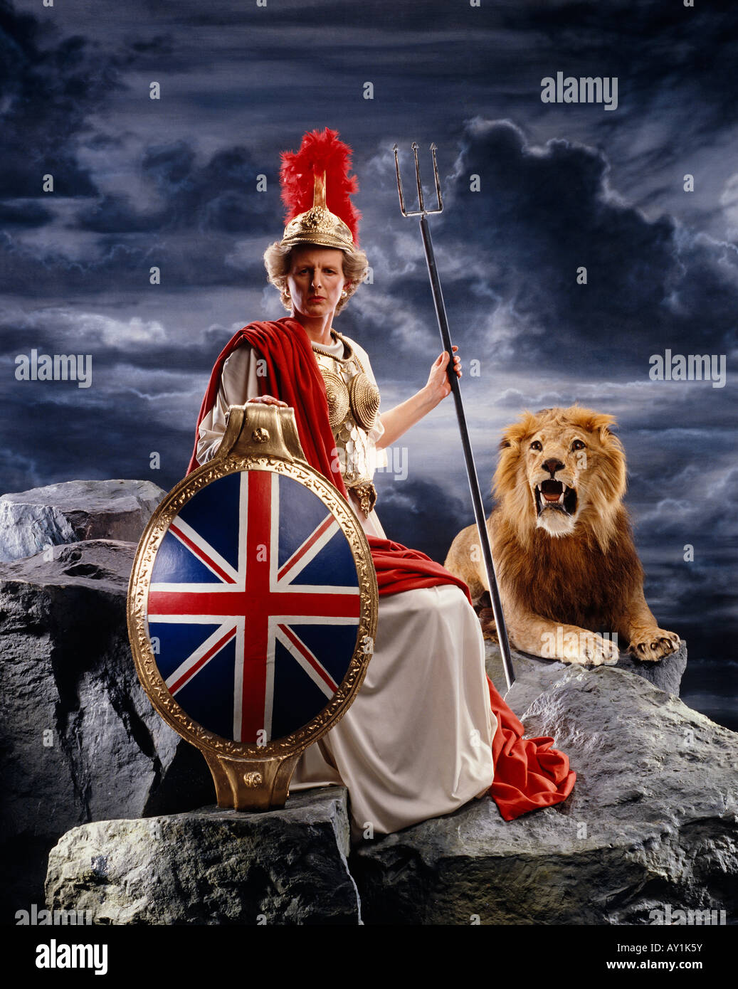 Margaret Thatcher lookalike as Britannia - Stock Image