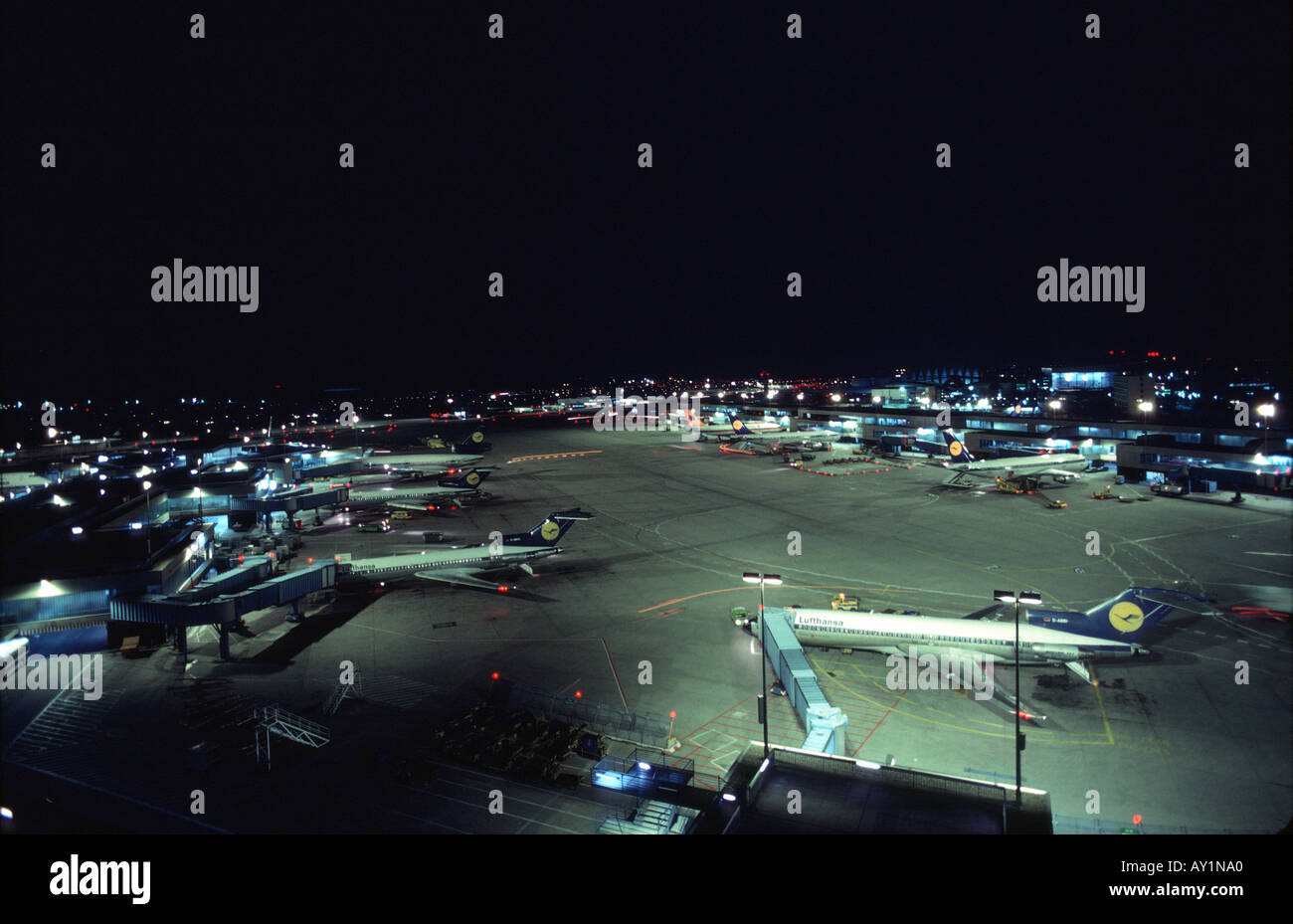 Airport at night - Stock Image