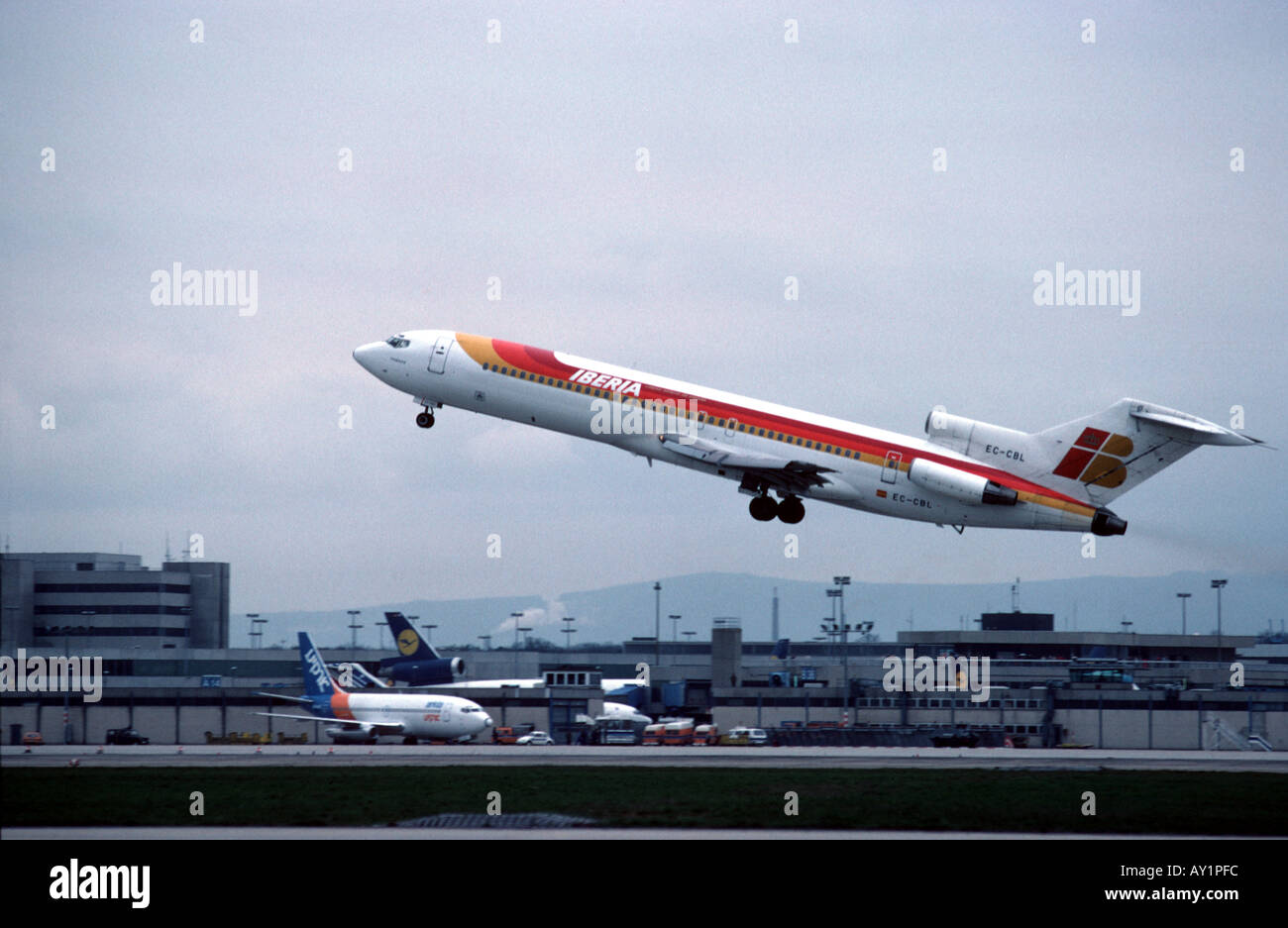 Aircraft taking off from airport - Stock Image