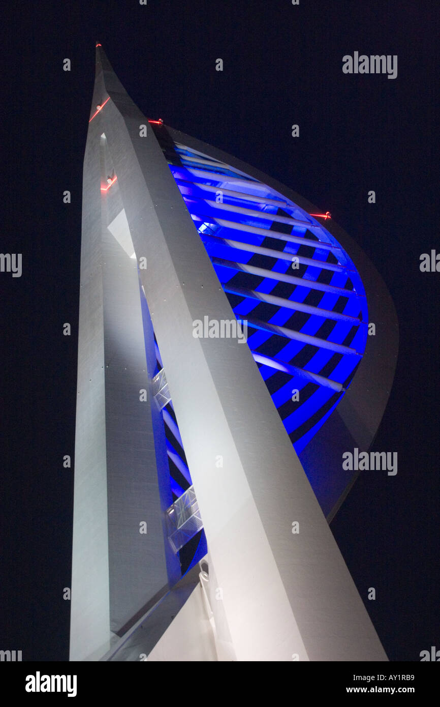 Spinnaker Tower at Gun Wharf Quay Portsmouth Harbour at night Stock Photo