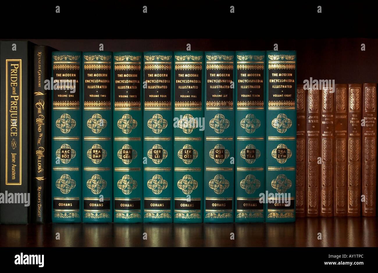 encyclopaedias on a library shelf - Stock Image