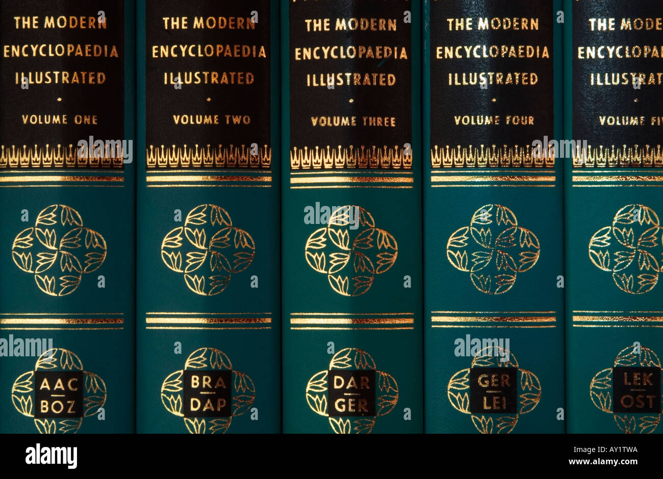 five encyclopaedias - Stock Image
