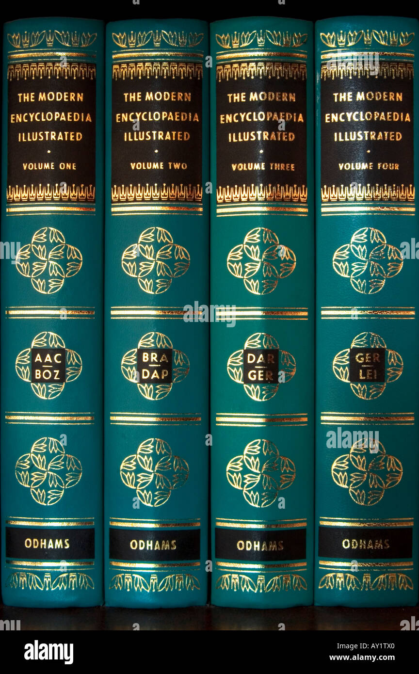 four encyclopaedias - Stock Image