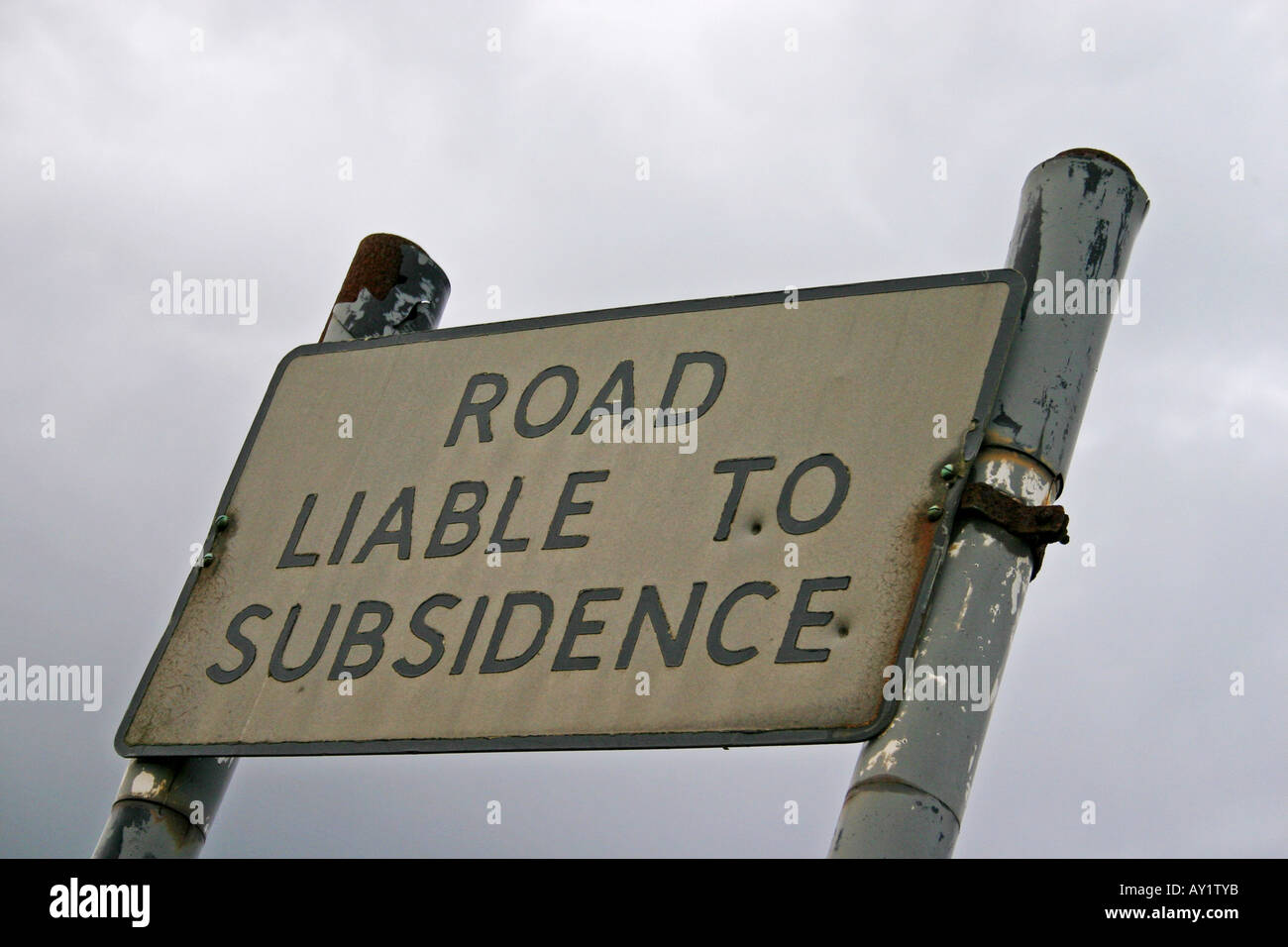 Road Liable to Subsidence warning sign Morpeth Northumberland Stock Photo