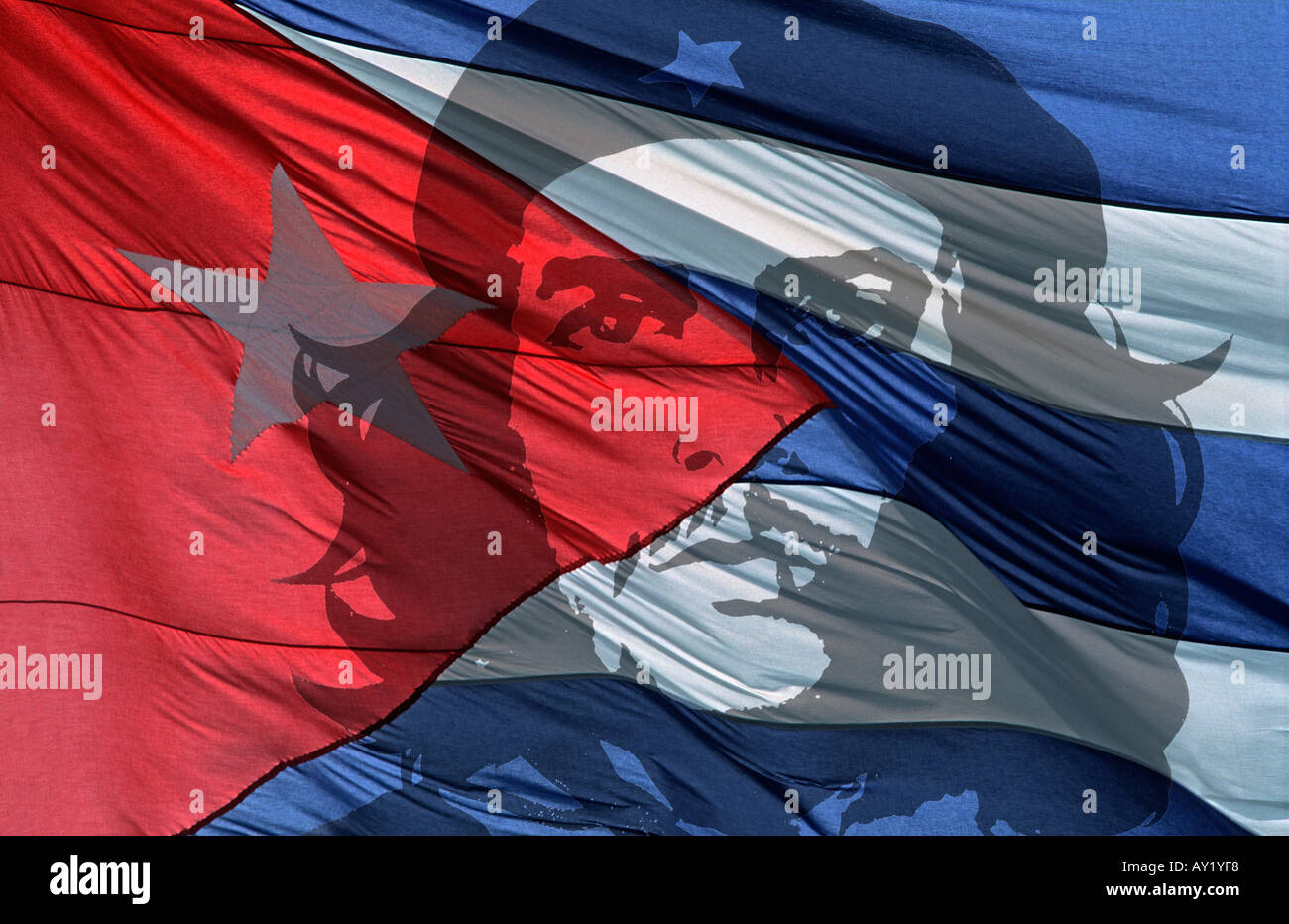Colourful red white and blue detail of the Cuban national flag with Che Guevara overlaid A global icon CUBA - Stock Image