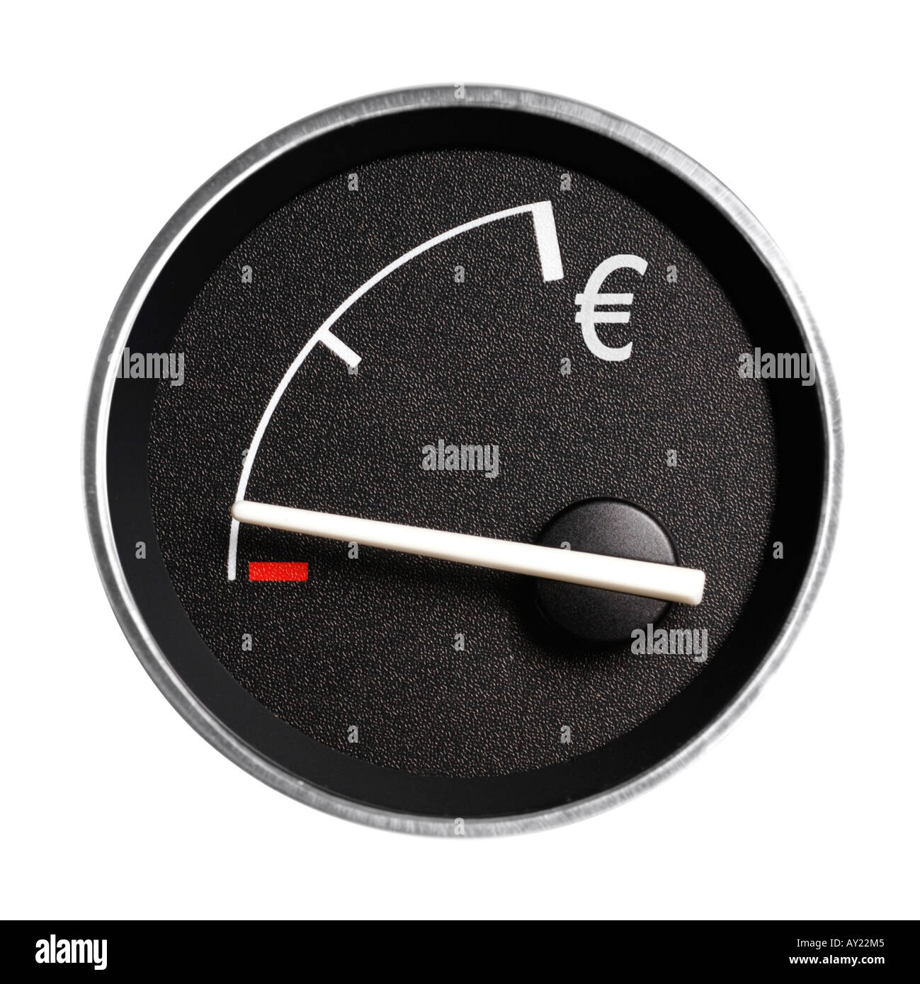 Fuel gauge marked with Euro sign, showing empty - Stock Image