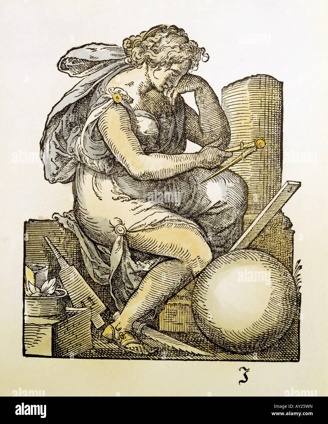 allegories, melancholy, coloured woodcut by Jost Amman to 'Kunst und Lehrbüchlein für die anfangenden - Stock Image