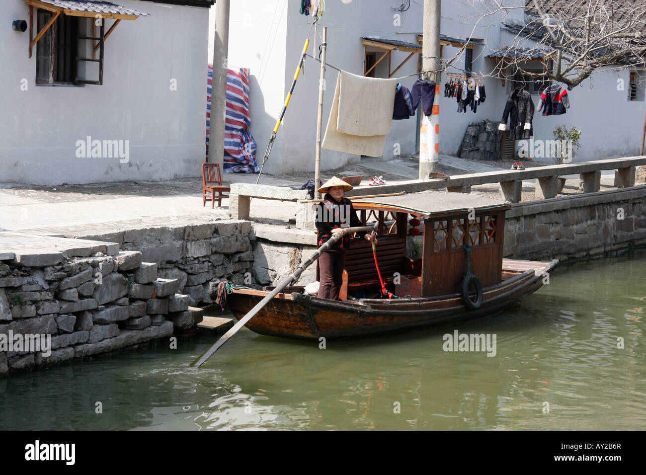Tourist punt used for tourists tours around the canals in Suzhou,China - Stock Image