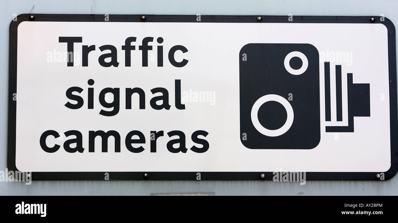 Road Signs Signals in London UK Traffic signal camera speed cameras ahead - Stock Image