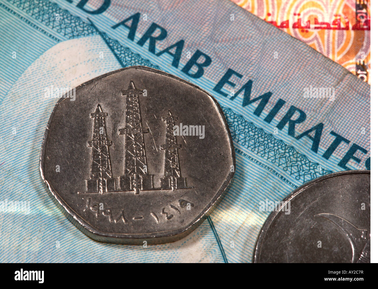 UAE Money stock image. Image of banknote, middle, coins ... |Arab Emirates Currency