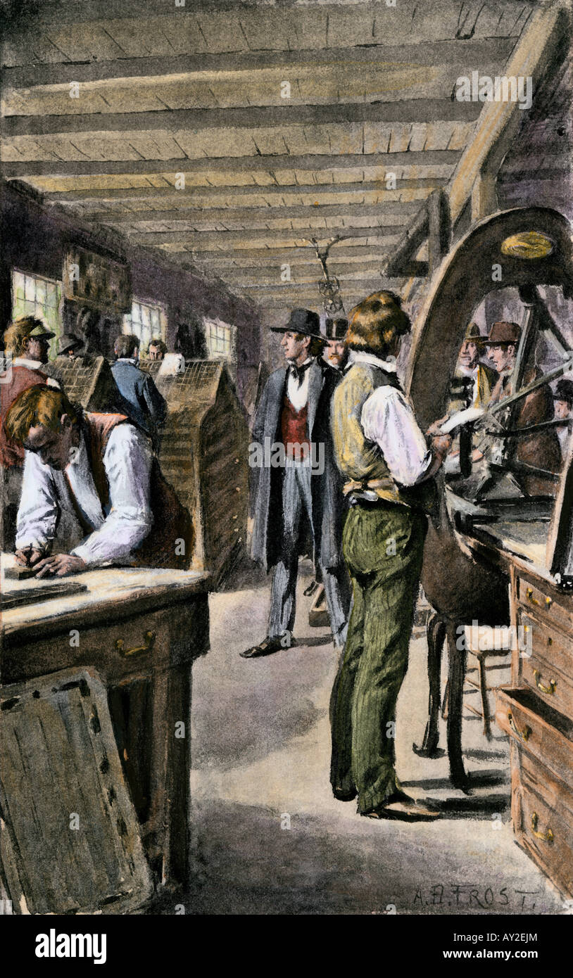 Typesetters and printers at work in a print shop 1800s. Hand-colored halftone of an A.B. Frost illustration - Stock Image