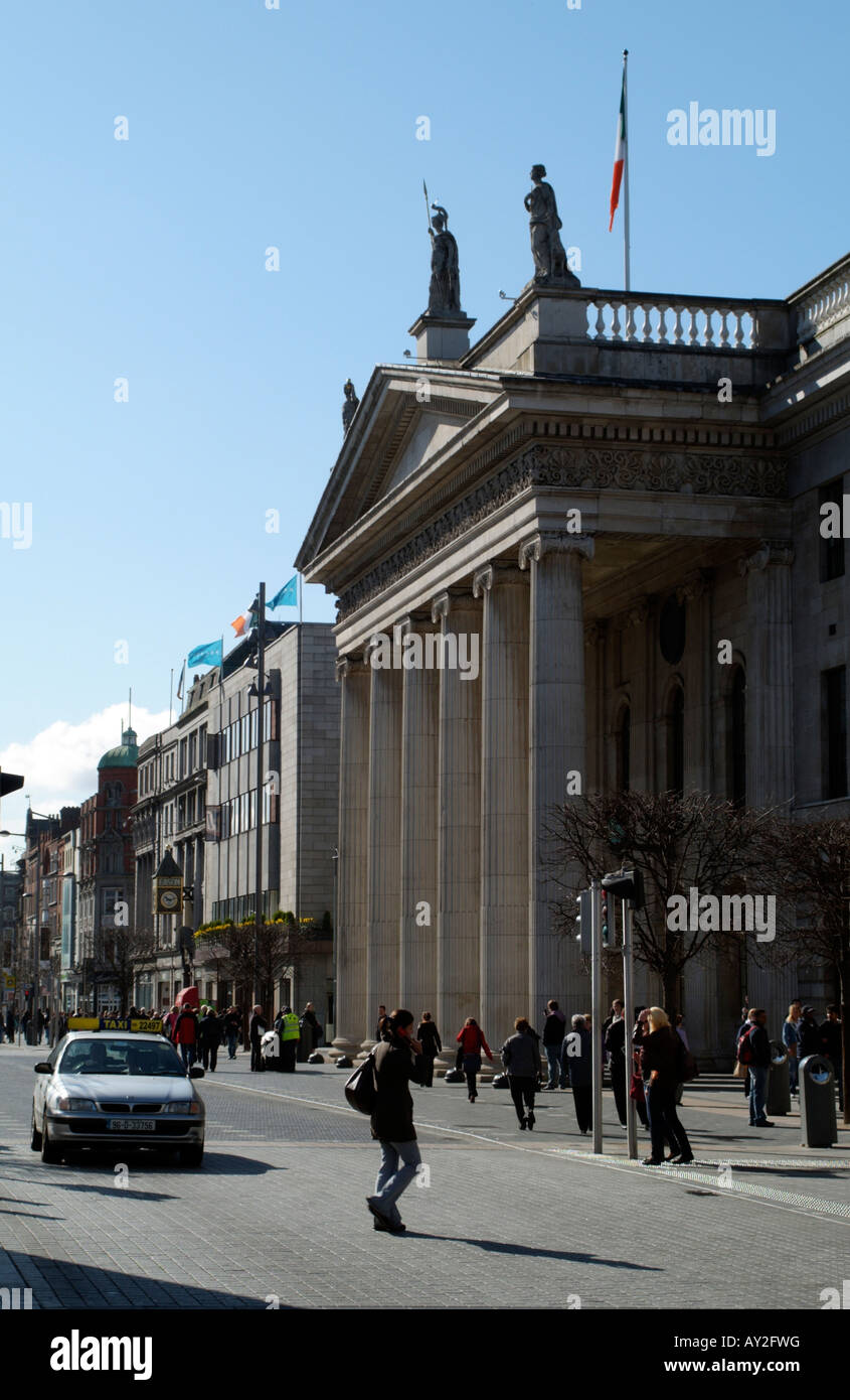 GPO Building on O Connell Street Dublin Ireland The Historic General Post Office famous for the 1916 Easter uprising - Stock Image