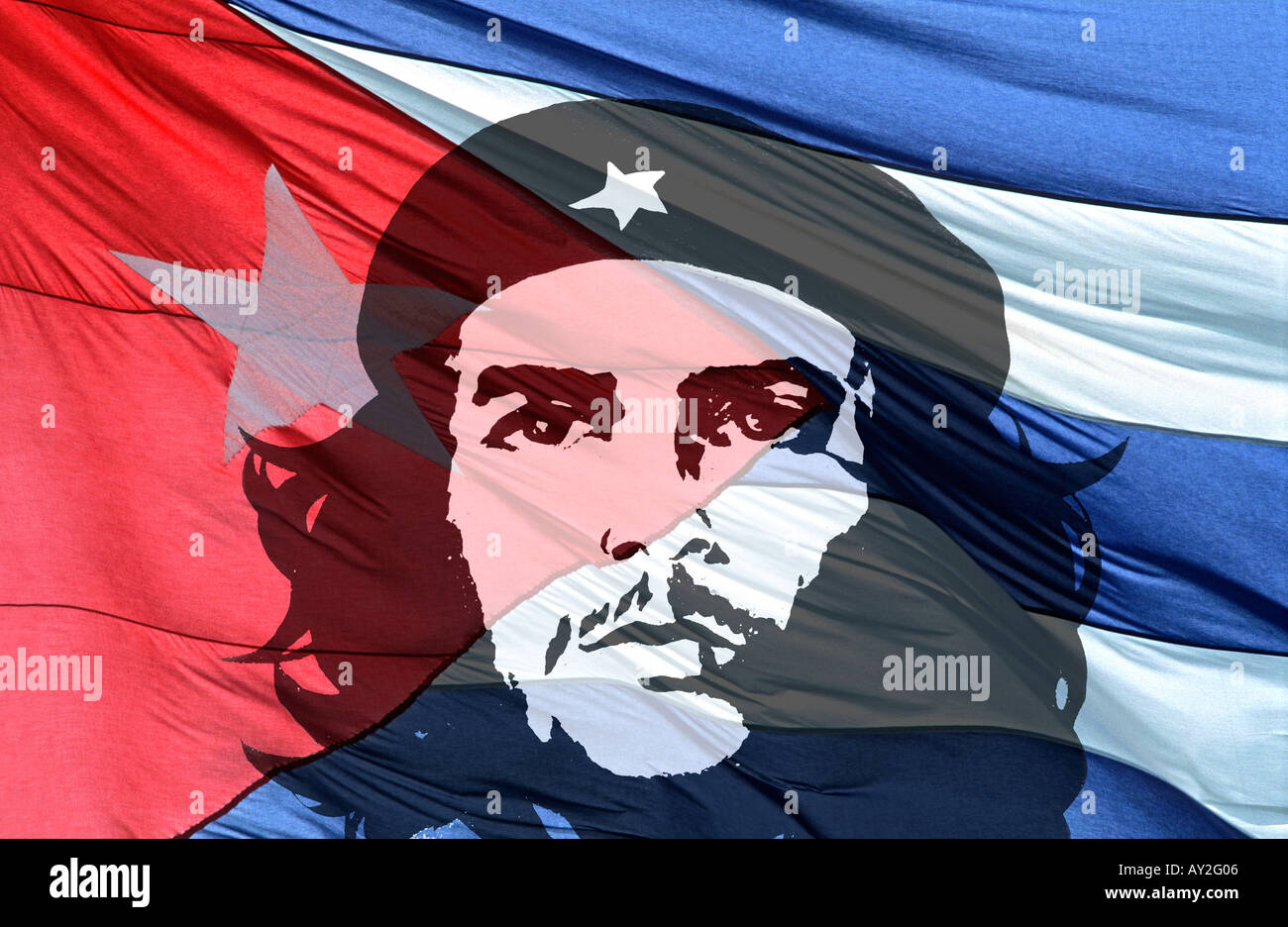 Colourful red white and blue detail of the Cuban national flag flowing in the wind with Che Guevara overlaid A global icon CUBA - Stock Image