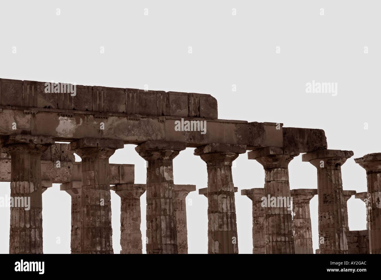 Greek Temple In Selinunte Sicily Italy - Stock Image
