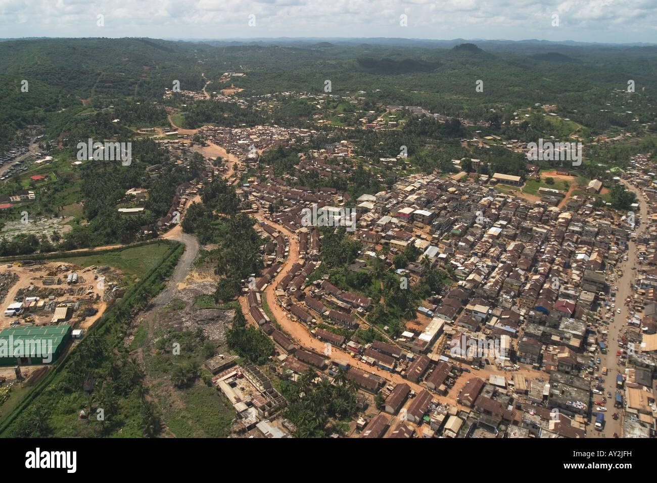 Aerial View Of Central Prestea Township Ghana West