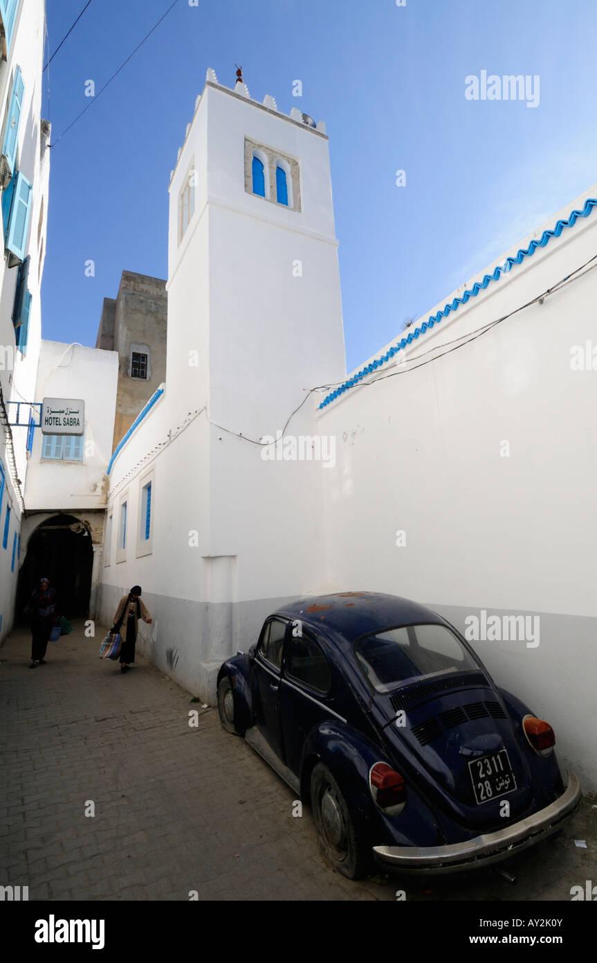 M Sid El Koubba Mosque And Vw Beetle Car In Tunis Medina Tunisia