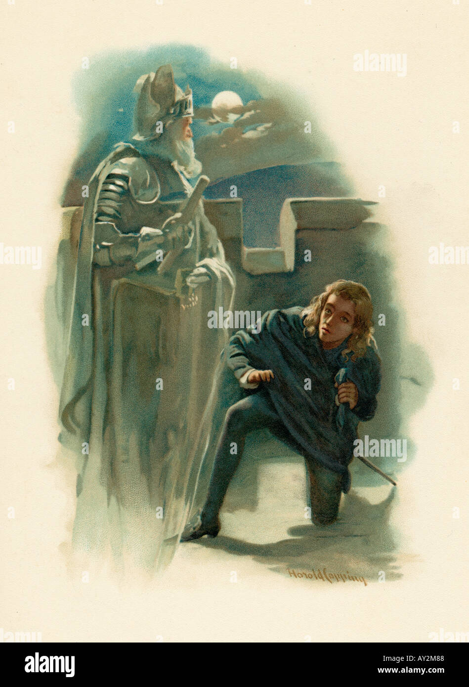 Hamlet And Ghost - Stock Image