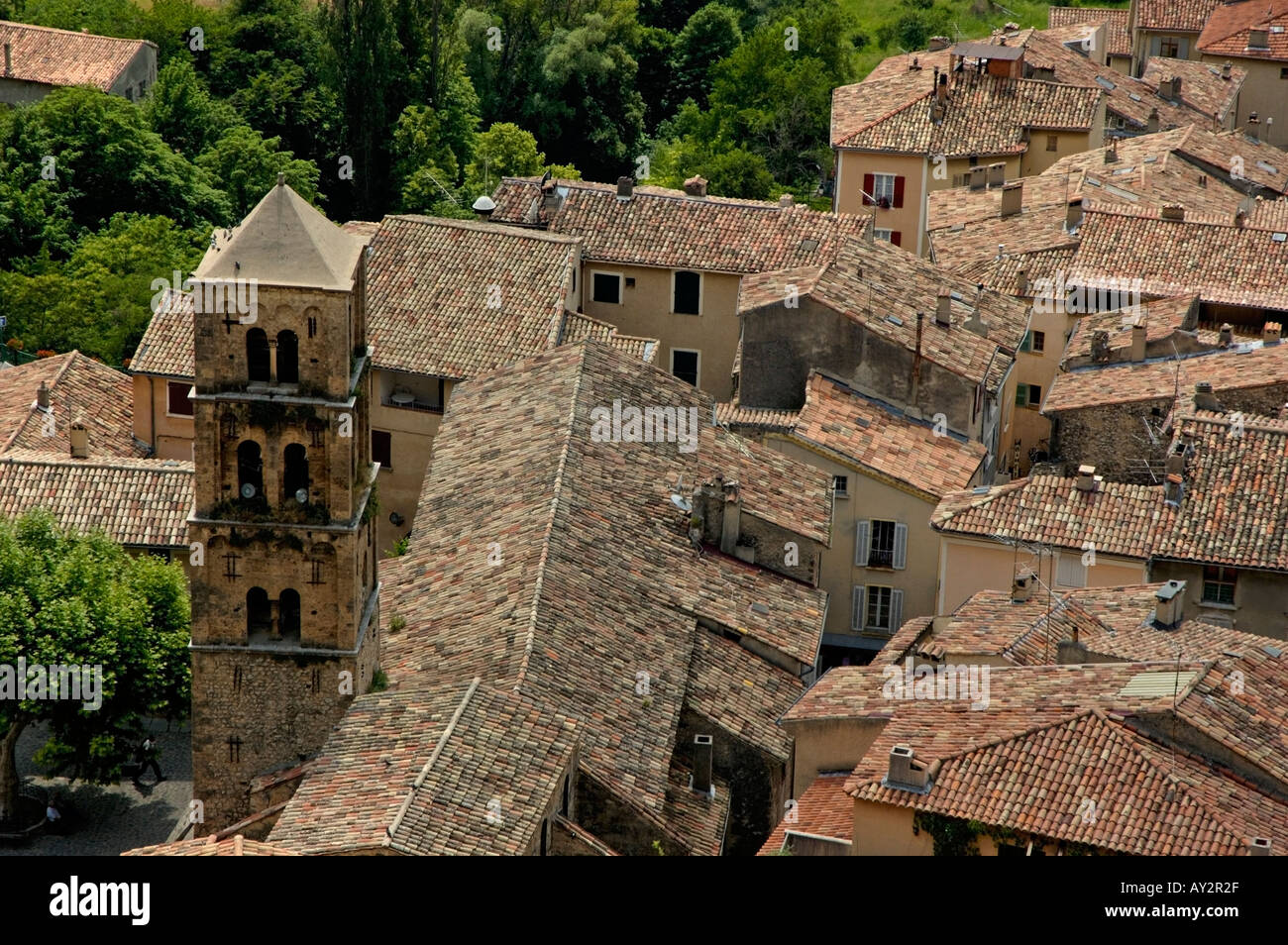 Moustiers Sainte Marie village in Provence, France - rooftops Stock Photo