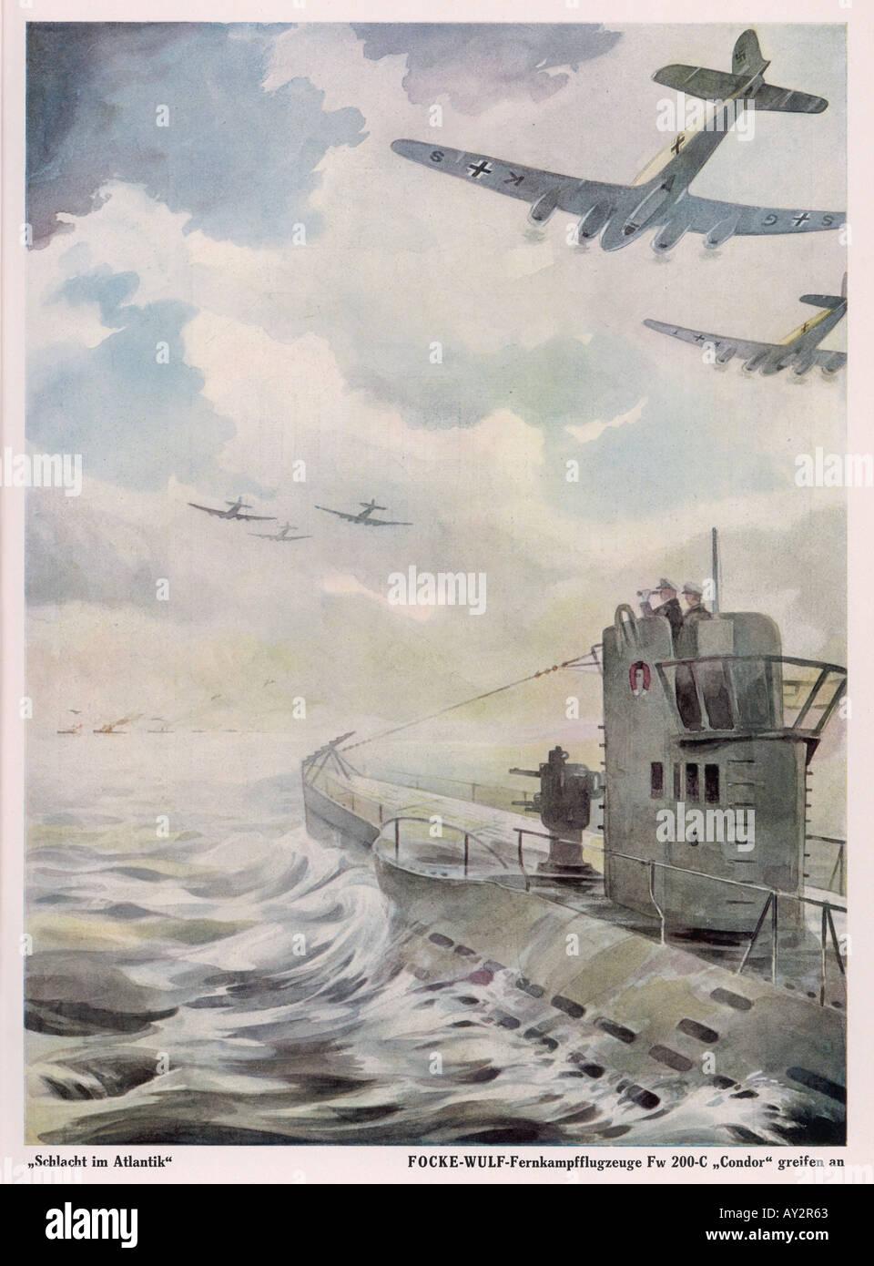 Condor Attacks Sub 1941 - Stock Image