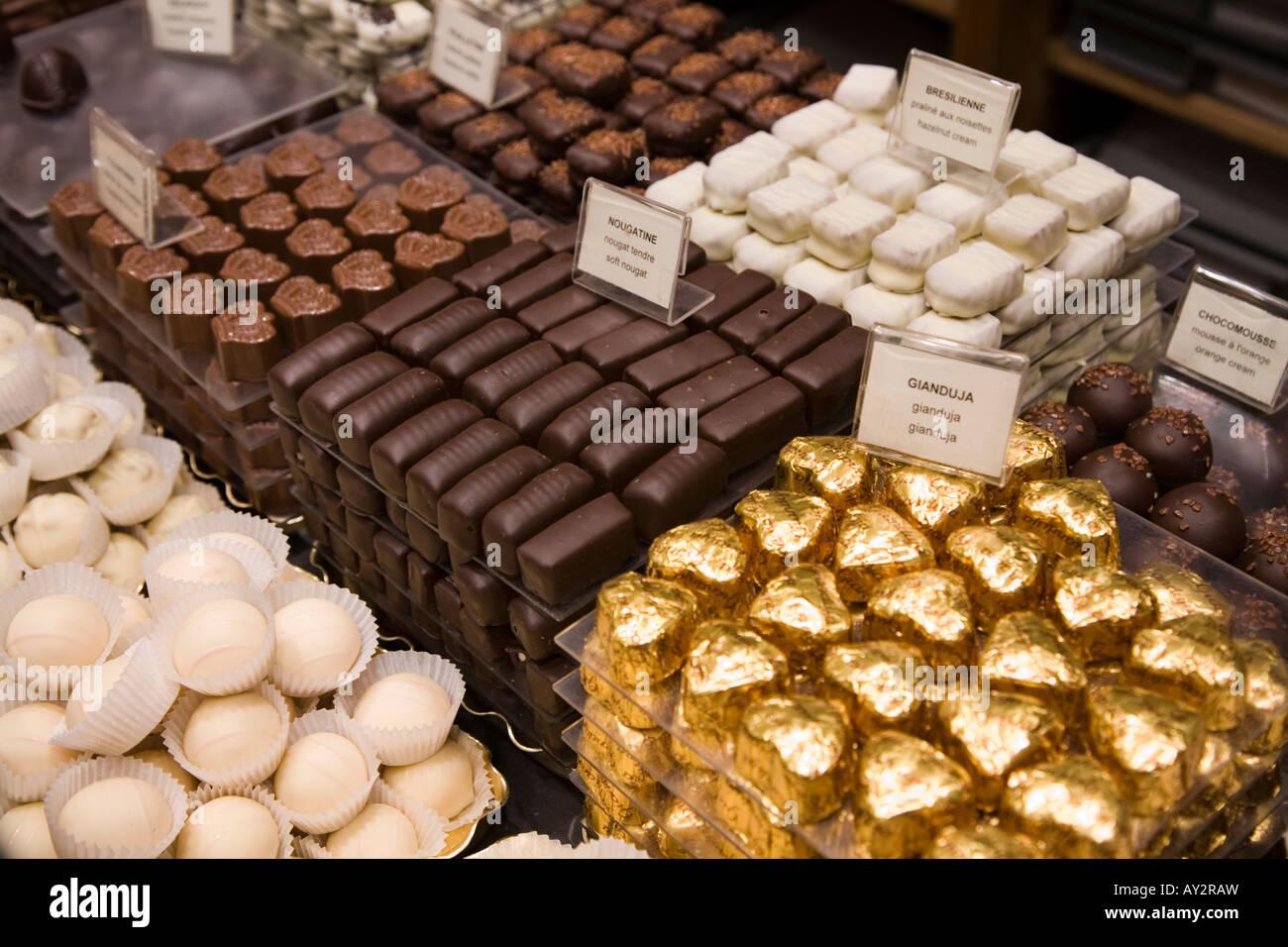 Display of Belgian Chocolates at Rogier Belgian Chocolate