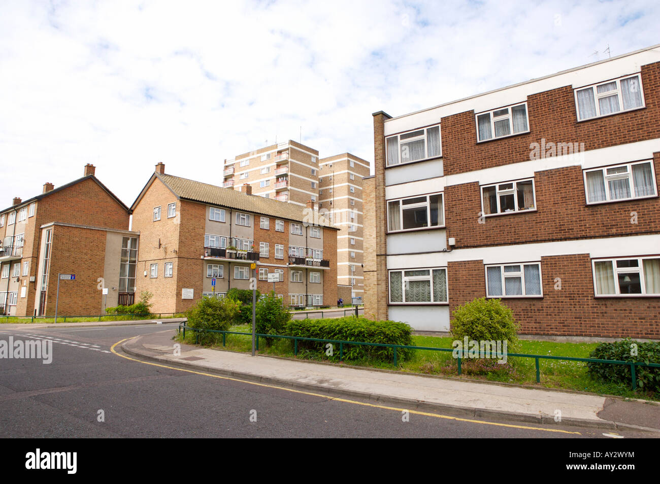Council estate with high rise buildings and flats - Stock Image