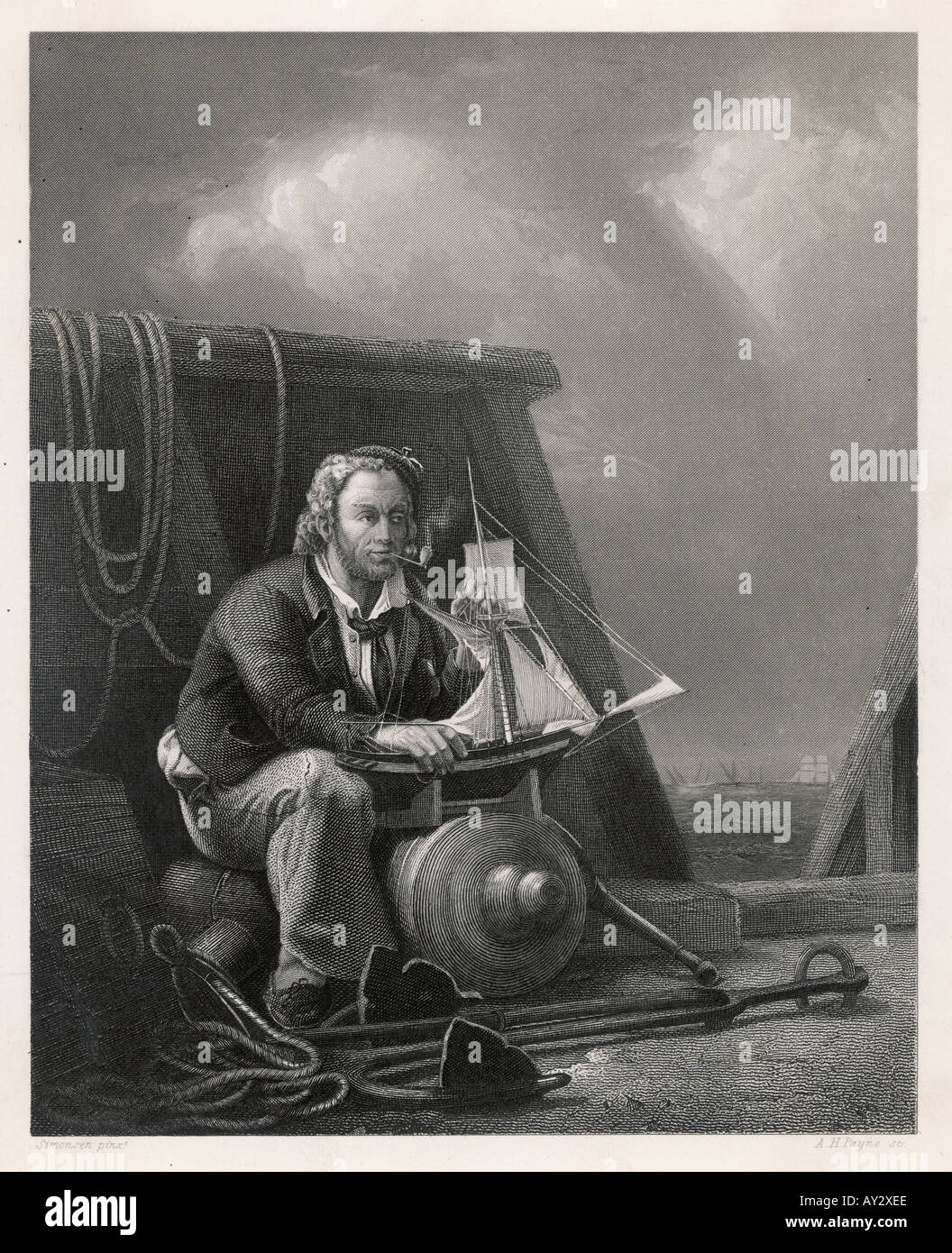 Sailor With Model Ship Stock Photo