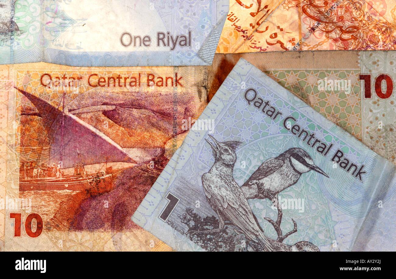 QAT Qatar Currency Riyal banknotes - Stock Image