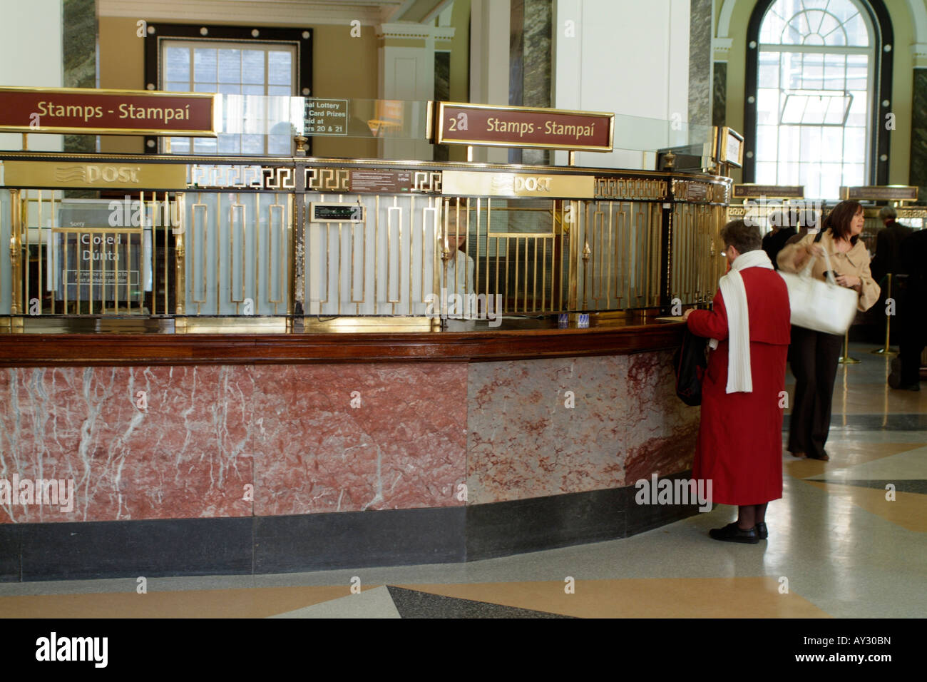 Interior of the GPO Building on O Connell Street Dublin Ireland - Stock Image