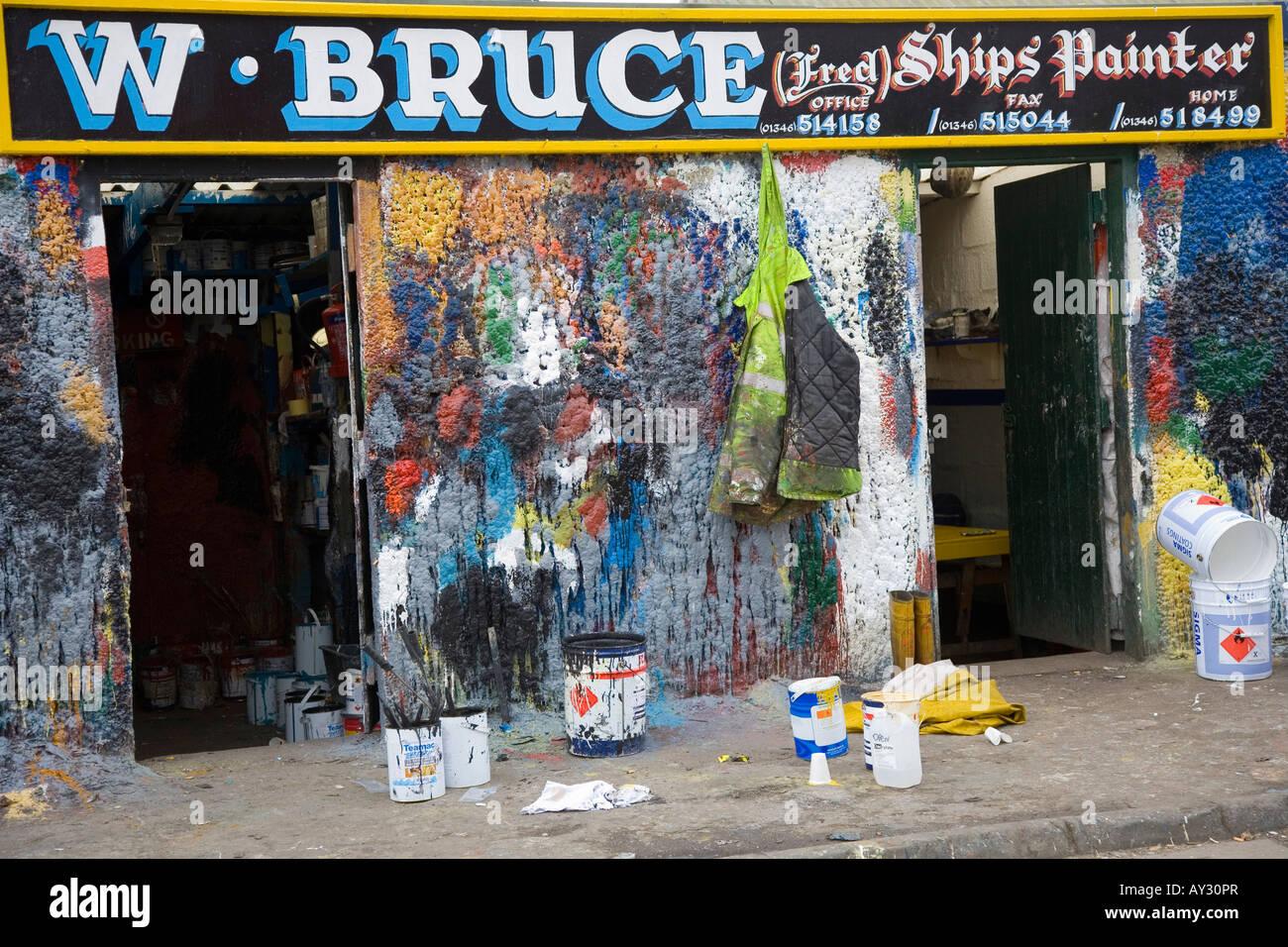 Commercial Paint Shop_ W.Bruce ship painters, Fraserburgh Scotland uk - Stock Image