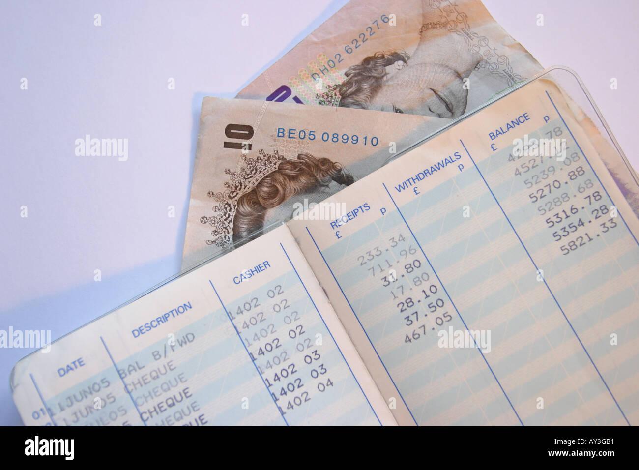 Building Society savings account book - Stock Image