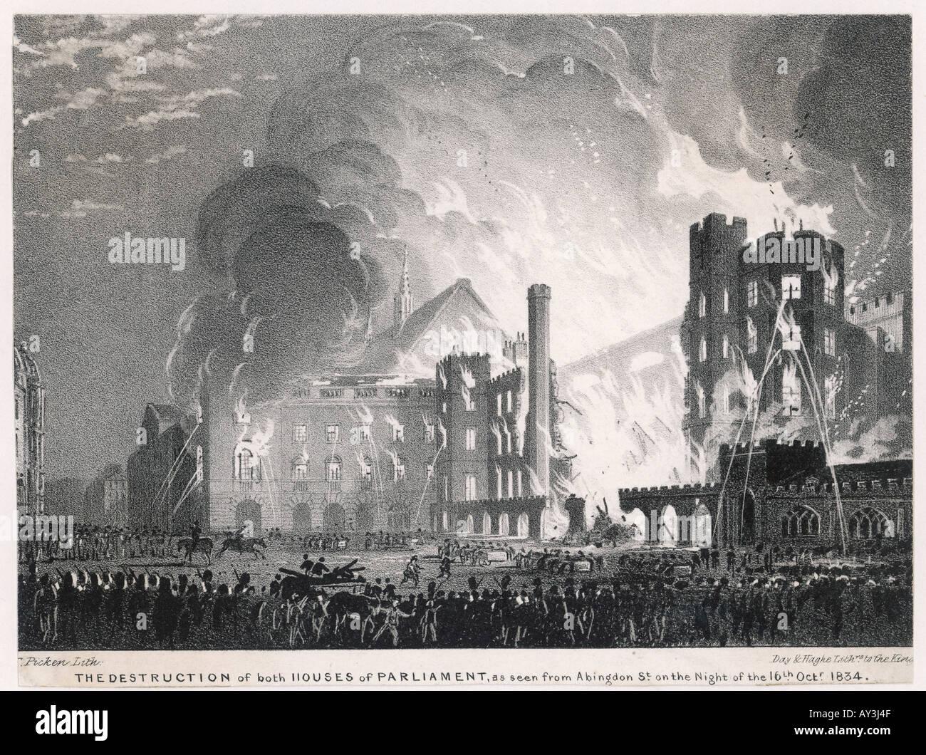 Westminster 1834 Burns - Stock Image