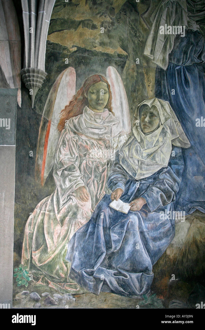 Frescoes by Paul Bodmer in the Cloisters of the Fraumünster church Zurich Switzerland - Stock Image