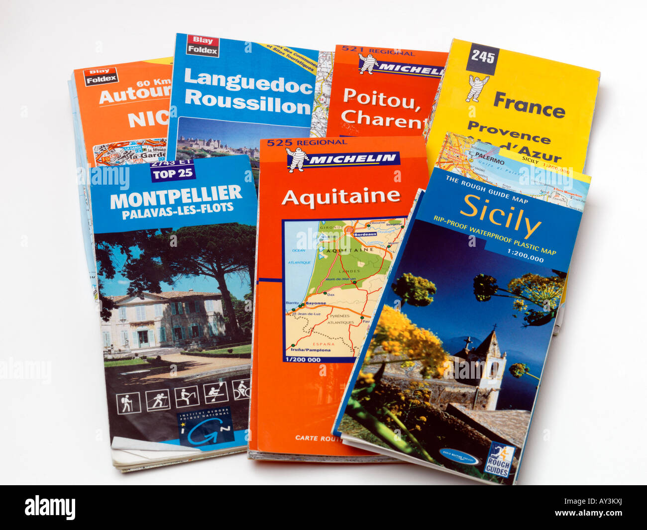 Selection of Touring Road Maps - Stock Image