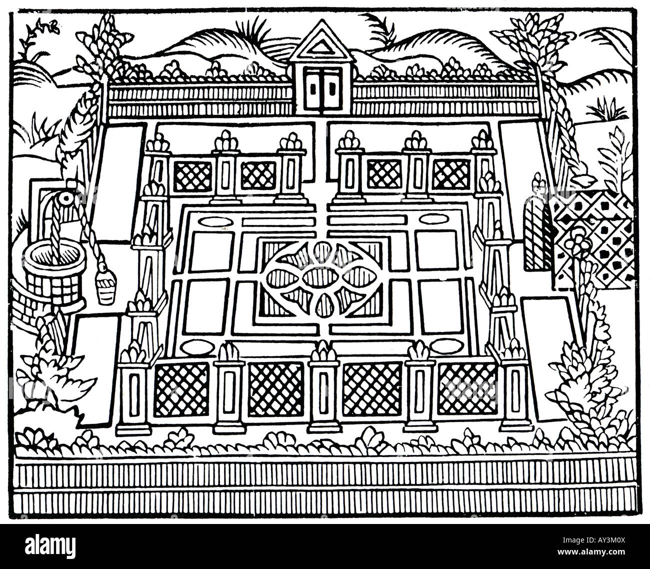 THE GARDENER'S LABYRINTH by Thomas Hill printed in 1571 showing beds  enclosed by an inner fence and outer hedged pallisade
