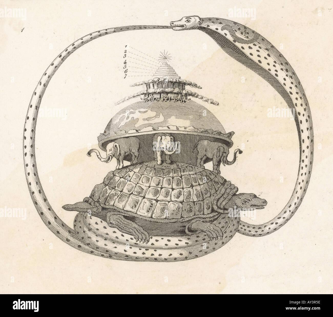 Hindu Cosmic Turtle - Stock Image