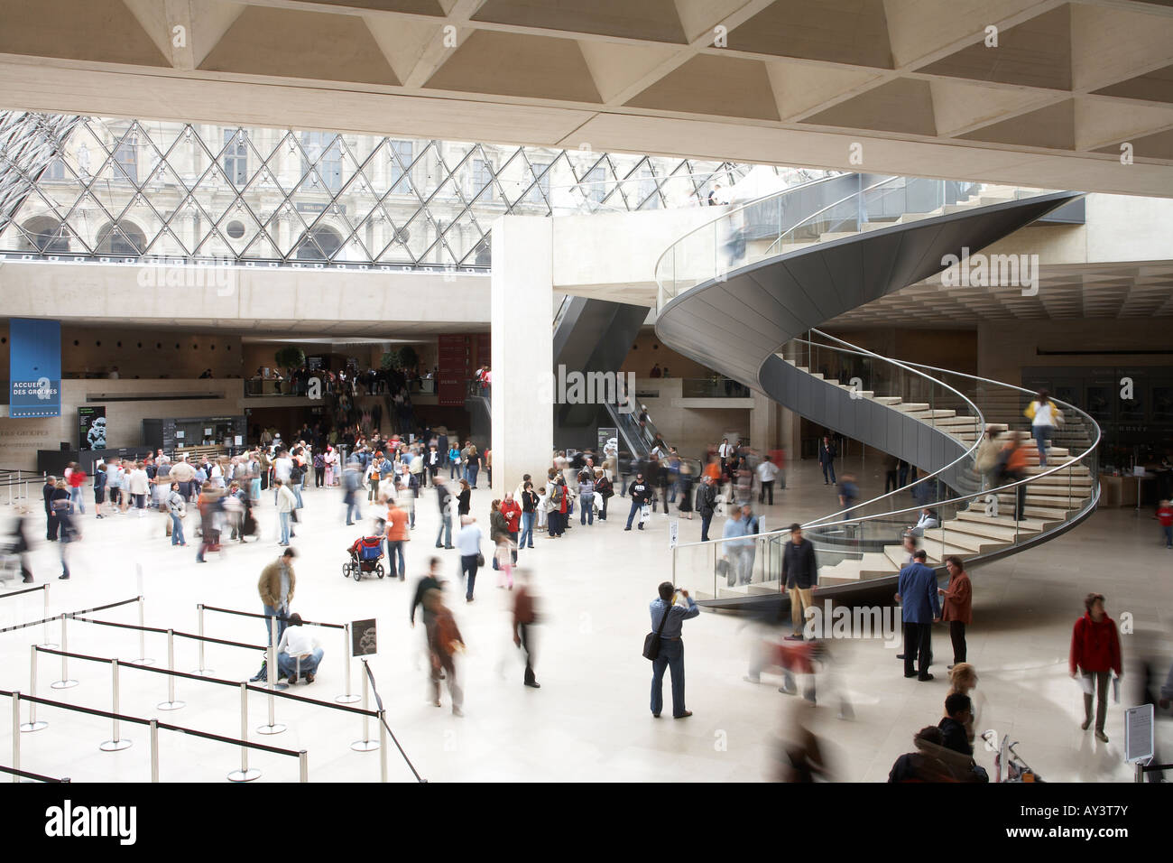 The stairway within the Louvre - Stock Image