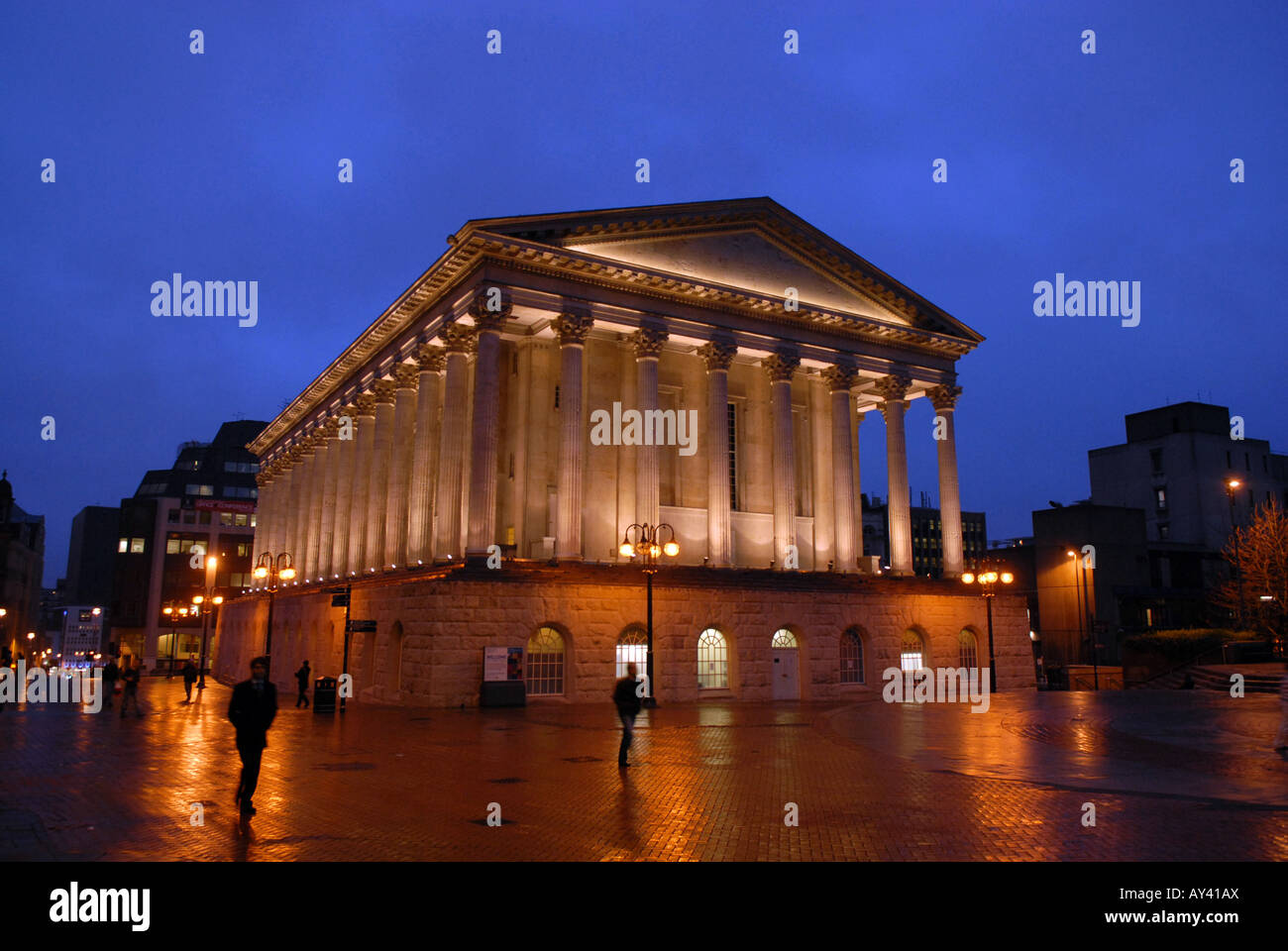 Chamberlain Square and the Birmingham Town Hall in Birmingham England at night Stock Photo