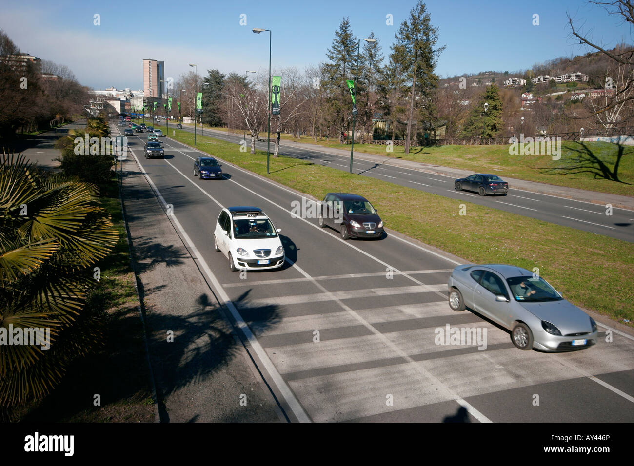 Traffic cars in Turin, Italy. - Stock Image
