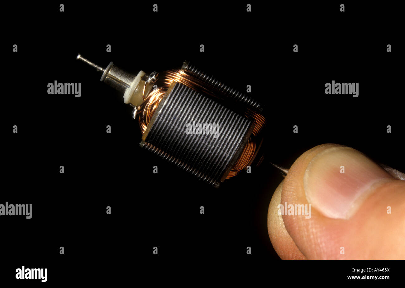 dc armature and commutator of small electric motor - Stock Image