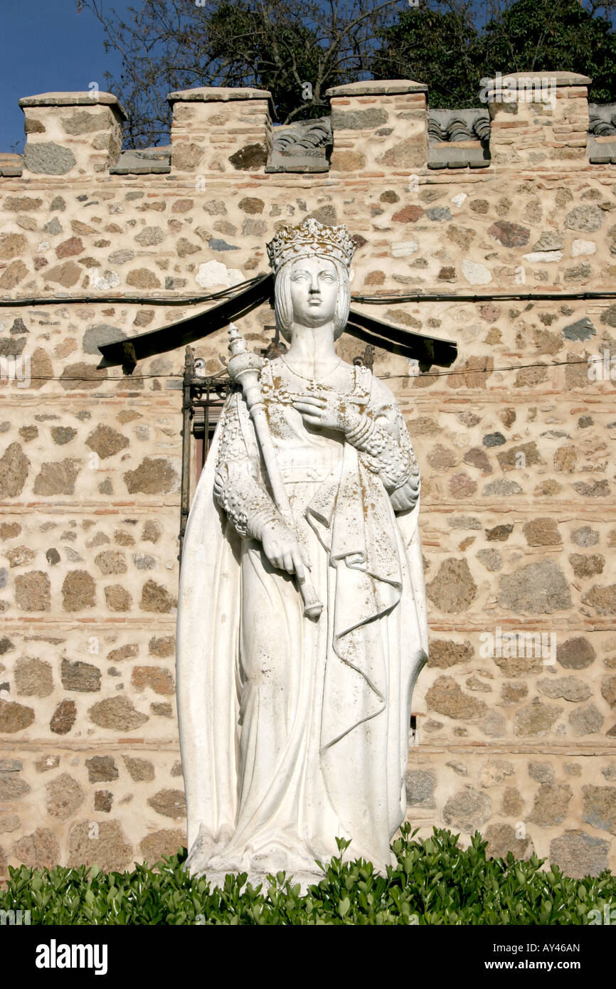 A Statue of Isabel the Catholic by The Monasterio de San Juan de los Reyes in Toledo Spain. - Stock Image