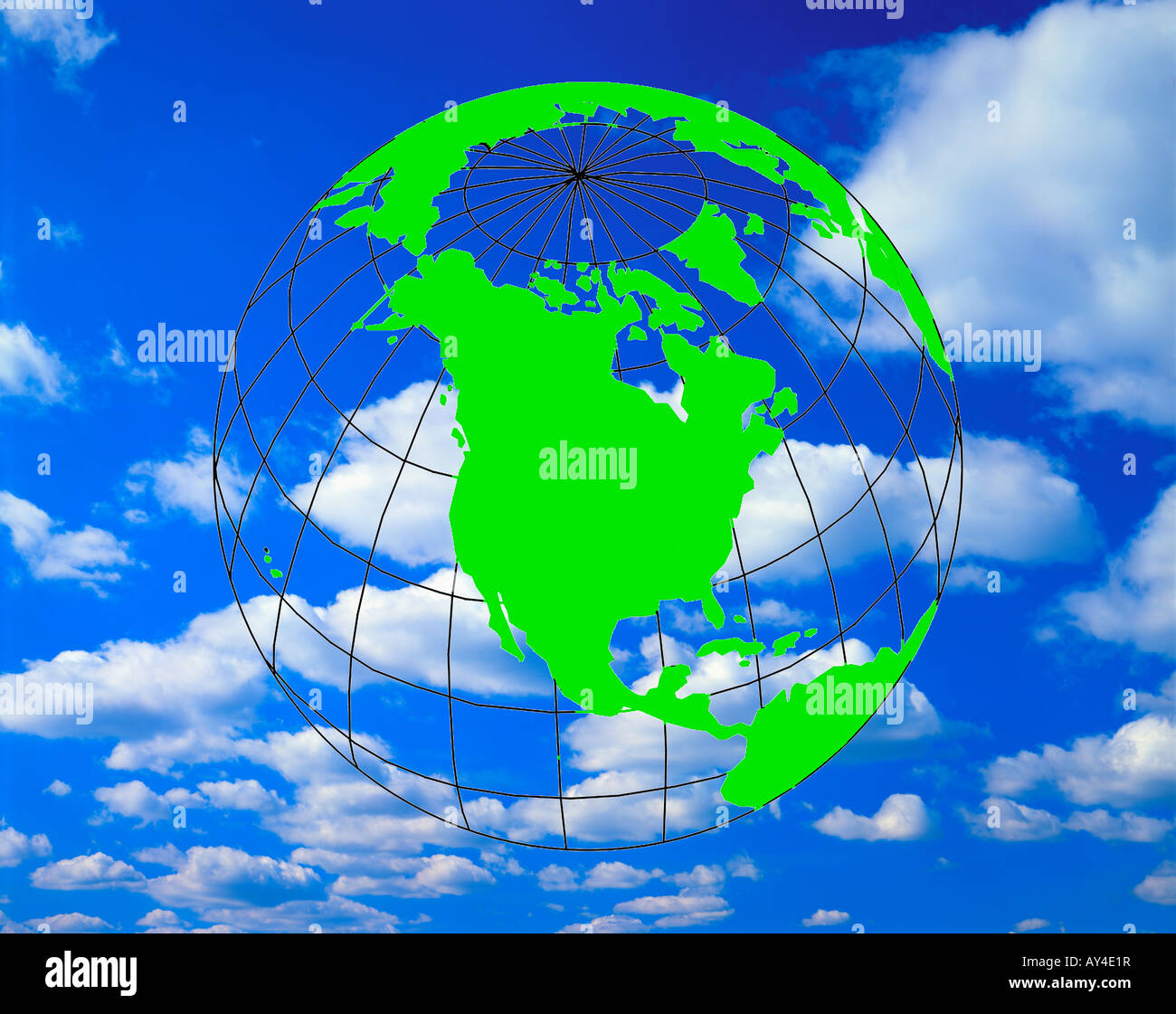 transparent earth globe superimposed on sky and clouds - Stock Image