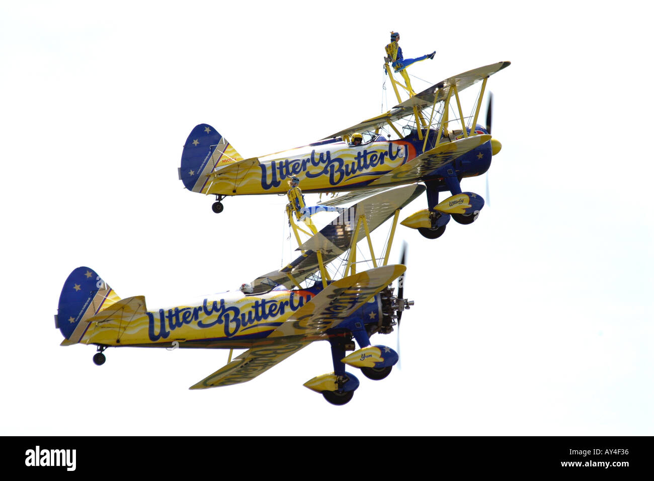 Uttlerly Butterly wing walkers at 2004 airshow  - Stock Image