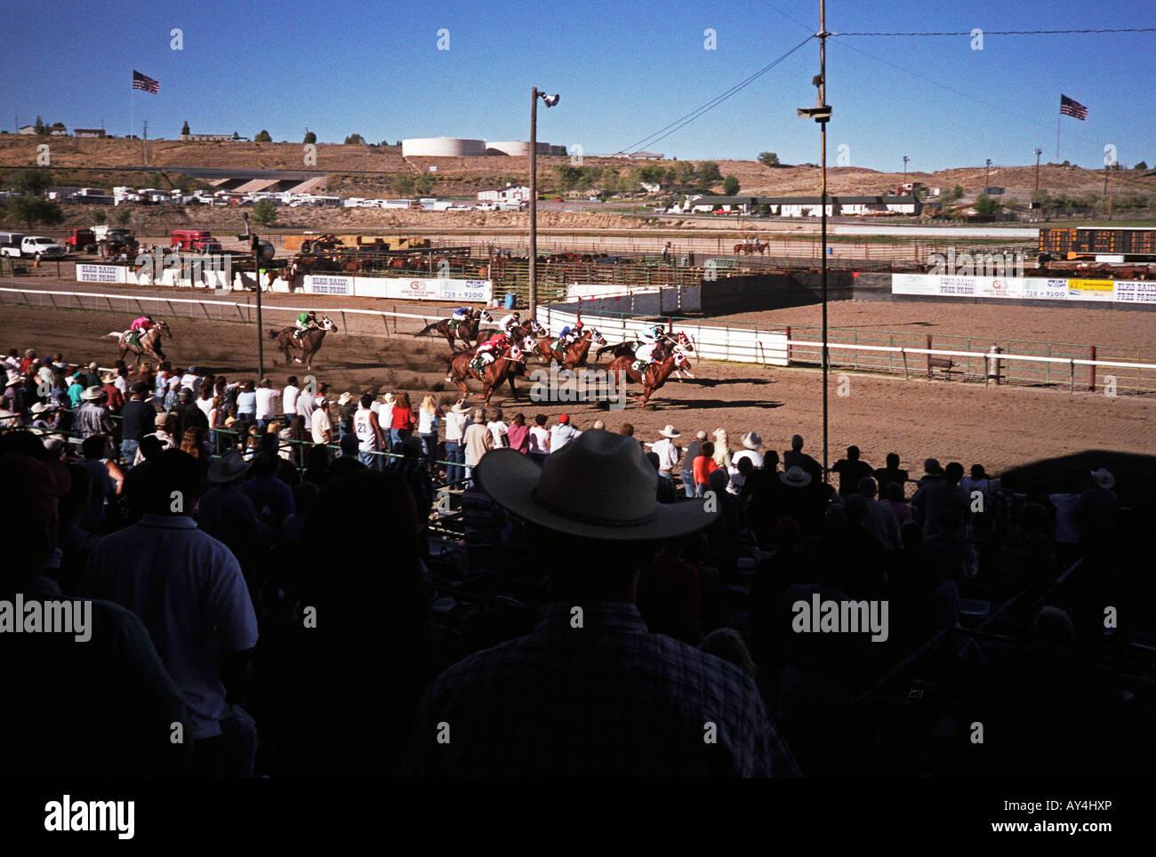 Horse racing event, Elko County Fair, Nevada, USA - Stock Image