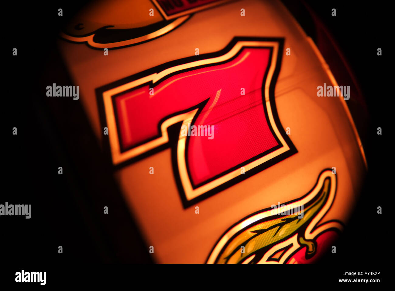 number 7 seven on slot machine fruit machine in amusement arcade