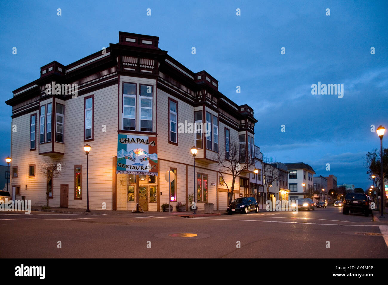 Historic building on second street in central Eureka - Stock Image