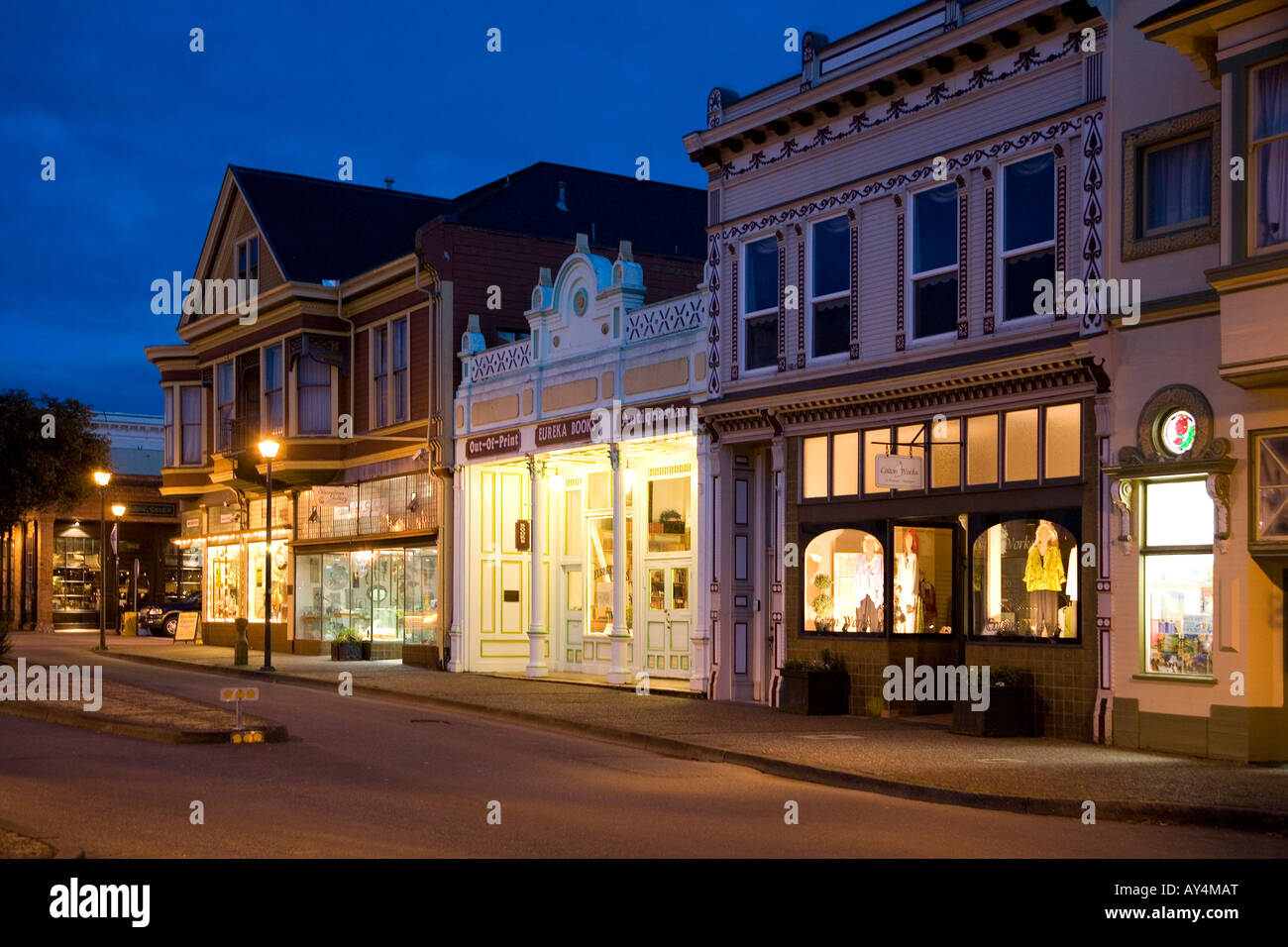 Row of shops in historic downtown Eureka - Stock Image