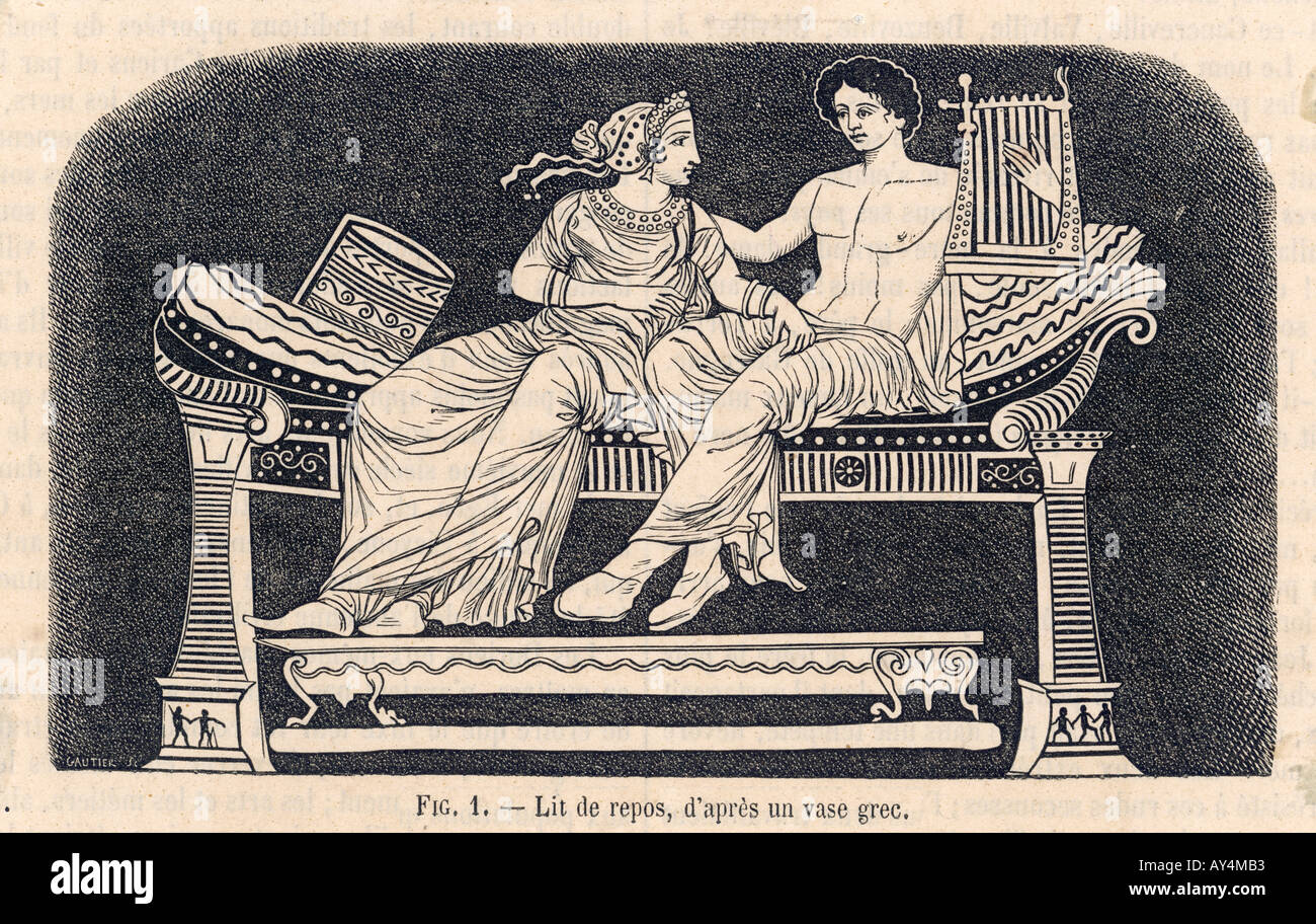Ancient Greek Bed - Stock Image