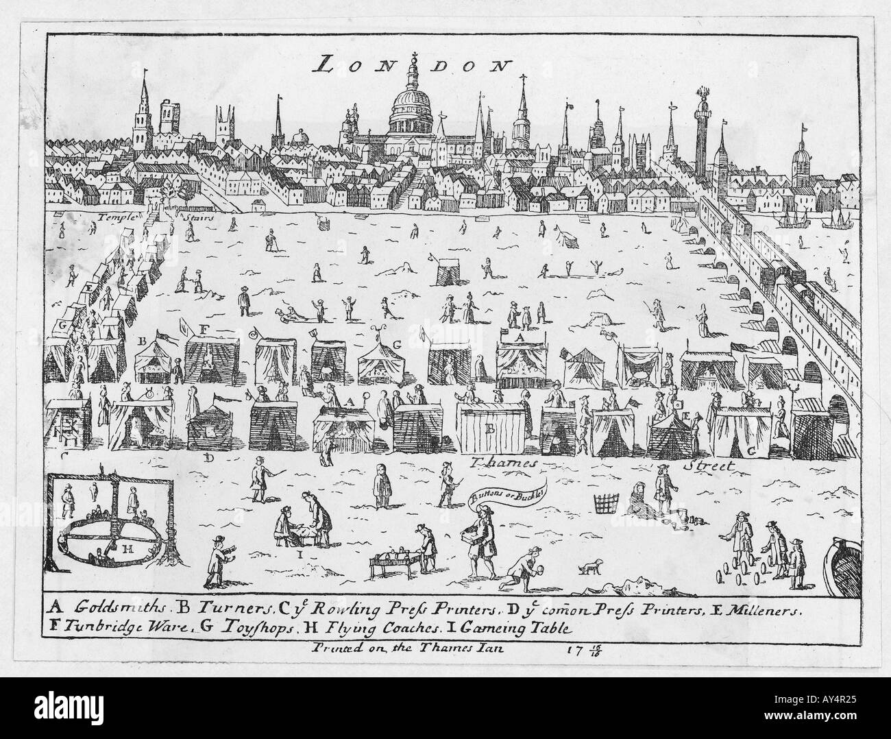 Frost Fair Thames 1715 6 - Stock Image