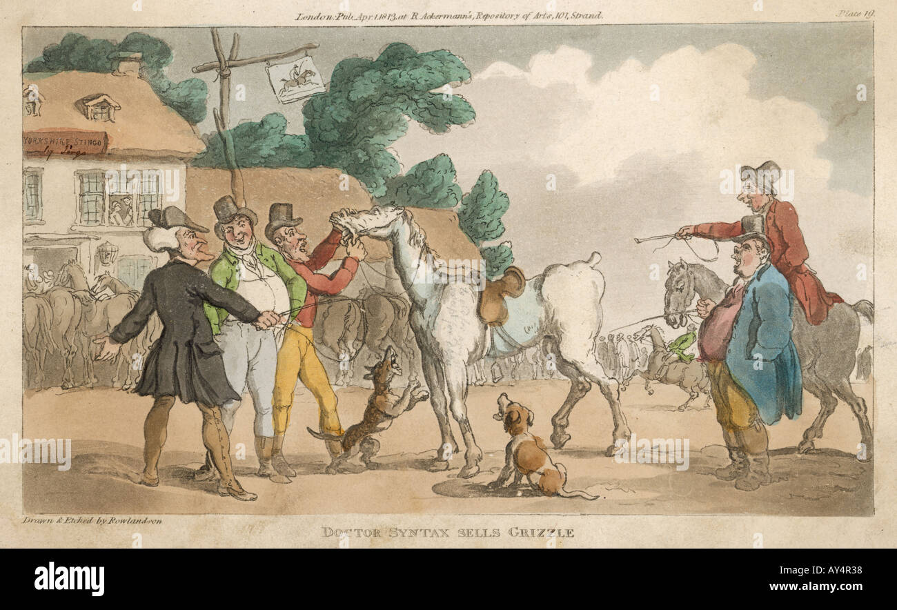 1823 Ackermann Horse Carriage~doctor Syntax Hand Colored Engraving